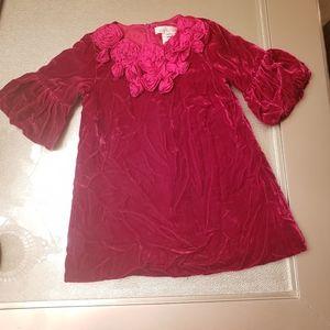 2T Velvet Dress with Ruffled Flowers